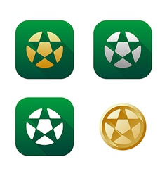 set soccer icons and logos vector image