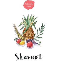 shavuot holiday symbols vector image