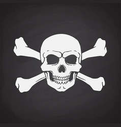 Silhouette skull jolly roger with crossbones vector