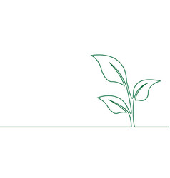 Single continuous line art growing sprout vector