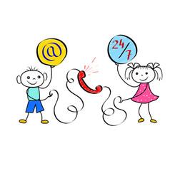 stickman boy and girl customer service concept vector image