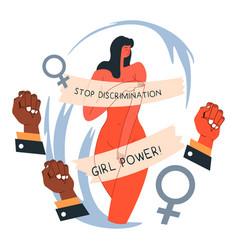 stop discrimination girl power feminism movement vector image