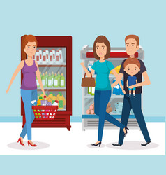 Supermarket shelvings with family buying vector