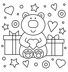 teddy bear and gifts coloring page vector image