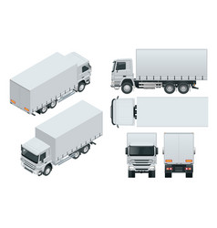 Truck delivery lorry mock-up isolated template on vector