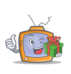 Tv character cartoon object with gift vector