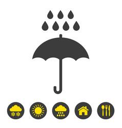 umbrella and rain icon on white background vector image