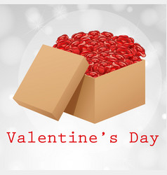 valentine card template with box of roses vector image