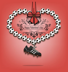 Valentines day and heart from soccer balls vector
