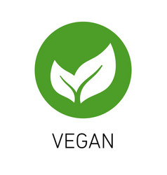Veganism emblem green leaf vector