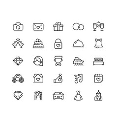Wedding icon set in line style 64x64 pixel perfect vector