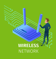 Wireless wi-fi network technology in human life vector