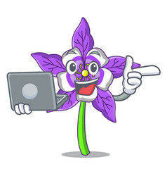 With laptop columbine flower character cartoon vector