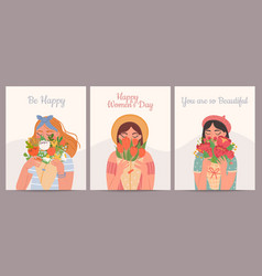 woman with flower bouquet happy international vector image