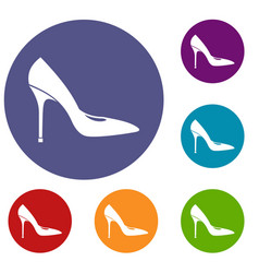 Women shoe with high heels icons set vector