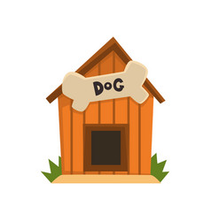 Wooden kennel with bone on a vector