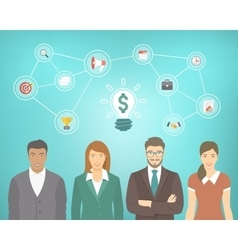 Young Business People Team Creates a Money Idea vector image