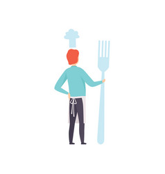 Young man standing with a giant fork faceless man vector
