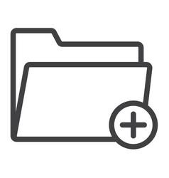 add folder line icon web and mobile add file vector image vector image