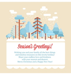Flat forest scene card with trees vector image