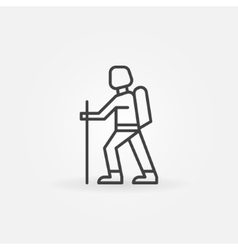 Hiking linear icon vector image