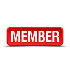 Member red 3d square button isolated on white vector