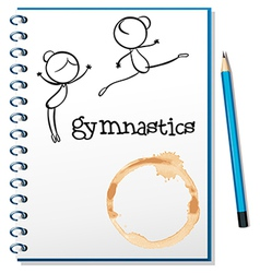 A notebook with two gymnasts at the cover page vector image