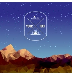 Low polygonal mountains at night vector image