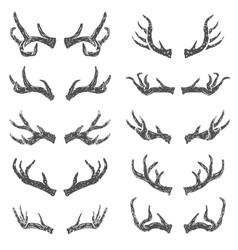 Set of hand drawn deer horns vector image