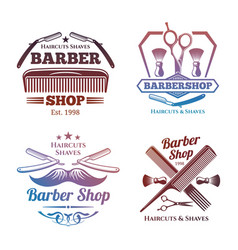 bright barber shop emblems - men haircute salon vector image vector image