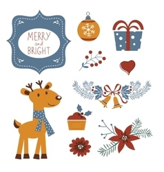 Colorful Christmas collection with holiday vector image vector image