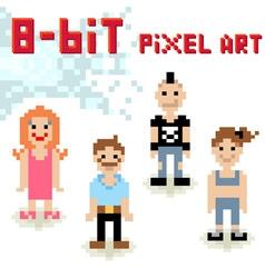 Cute 8-bit pixel character set of casual people vector image