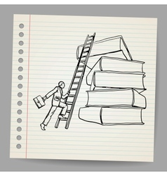 Doodle businessman with wooden ladder standing vector image vector image