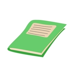 Green school notebook icon cartoon style vector image