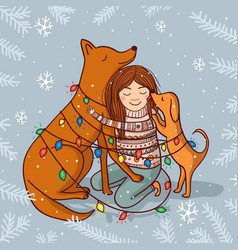 new year card with girl and dogs vector image vector image