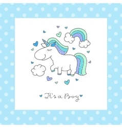 baby shower card with unicorn vector image vector image