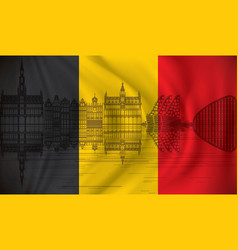 flag of belgium with brussels skyline vector image vector image