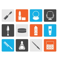 Flat cosmetic and make up icons vector image vector image
