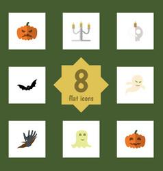 flat icon celebrate set of cranium spirit zombie vector image vector image