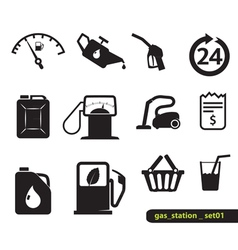Gas station set vector image vector image