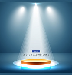 gold stage with spotlight blue background vector image