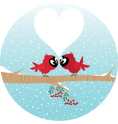 Loving birds on a branch vector image