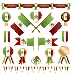 mexico ribbons flags and rosettes vector image vector image