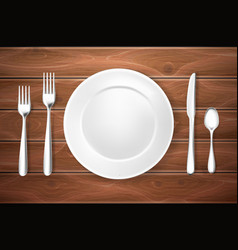 realistic table setting arrangement wooden texture vector image vector image