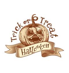 trick or treat retro halloween sketch vector image vector image
