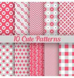 10 Cute different seamless patterns vector