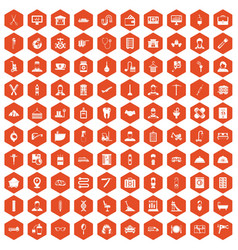 100 craft icons hexagon orange vector