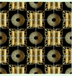 3d abstract geometric gold greek seamless pattern vector