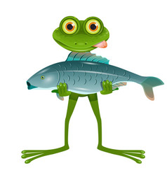 a goggle-eyed frog with a fish vector image