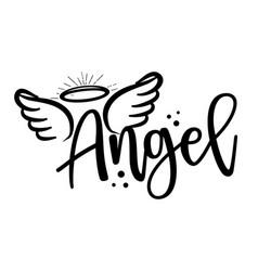 Angel - hand drawn beautiful memory phrase vector
